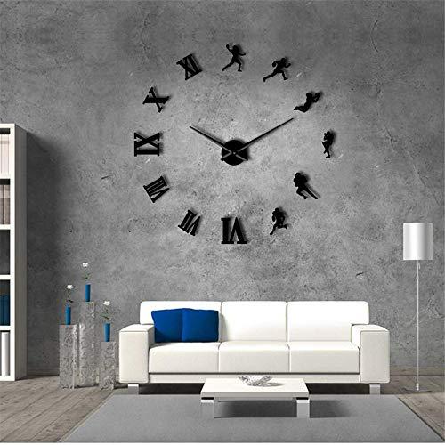 guyuell American Football-Spieler DIY Riesen Wanduhr Rugby Fans Sport Zimmer Wand-Dekor Modernes Design Große Rahmenlose Wand Uhr, 47Inch