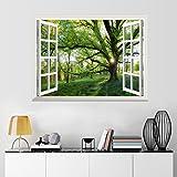 UNIQUEBELLA Vinyl Mauer 3D Fensterblick selbstklebende Wandsticker Wandtattoo Wandbilder Aufkleber Landschaft Wand deko 61x81cm