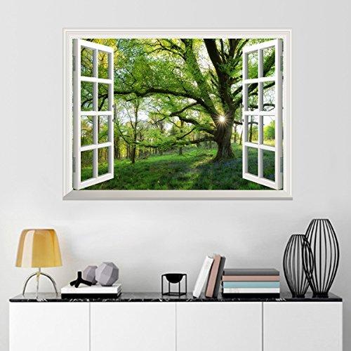 UNIQUEBELLA Poster mural En vinyle Auto adhésif 61x81cm Trompe l'oeil fenêtre Grand arbre Printemps Décoration murale