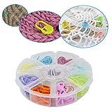 Damowa 80PCS bloccaggio marcapunti contatore di Stitch multicolore crochet Stitch ago clip con vano contenitore