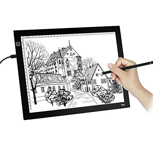 Mesa de luz, Tableta de LED para calcar para diseño, dibujo y manualidades con 3 brillos ajustables de KYG