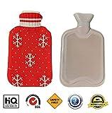 Borsa acqua calda, Fontee Borsa per l'acqua calda mini capacità 0.5L per bambini,copertina morbida con motivo a fiocchi di neve (rosso)