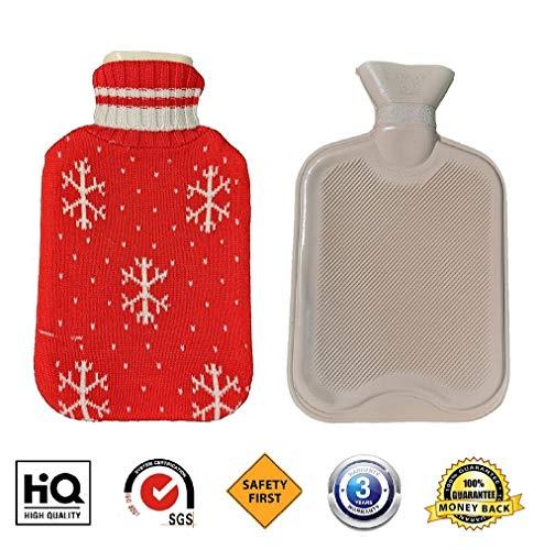 Wärmflasche Mit Bezug, Fontee Wärmflasche Große 2L Kapazität, Langlebig und Sicher, Weiche Gestrickte Schneeflocke Design Cover (Rot) (Design Schneeflocken)