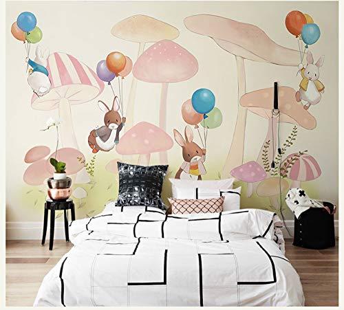 Handmalerei Kaninchen Ballon Pilz 3D Fototapeten Tapete Für Baby Kinderzimmer Große Cartoon Wandbild 3D Wandbild Dzyzbz -400cmx280cm - 400 Dekorative Akzente