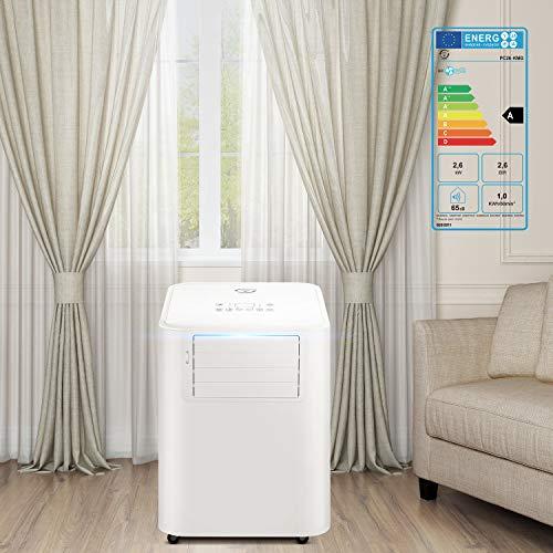 Famgizmo 9.000BTU Mobiles Klimagerät mit Kühlen + Entfeuchten + Ventilieren,350m³/h Luftleistung,3 Geschwindigkeit, 0-24H Timer Steuerung - 2,6KW Klimaanlage Mobil mit Abluftschlauch Klimatronic