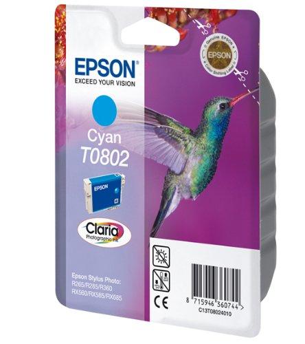 Epson T0802 Cartouche jet d'encre d'origine C13T080240 Cyan