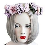 Yiwa Mariage Couronne de fleurs Bandeau Floral Couronne Guirlande Boho Bandeau Cheveux pour mariage festivals
