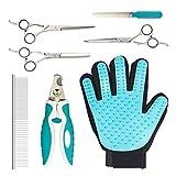 Rhodesy Haustier Salon Fellpflege Set Professional Tier-Haar Pflege Kit - Fellpflege Handschuh, Nagelknipser, Schere mit Kamm für Katzen, Hunde und Andere Tiere