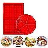 Jeffyo Waffel-Backform aus Silikon rund & eckig Muffinform Kuchen Schokolade Pfanne Küchenzubehör Rot