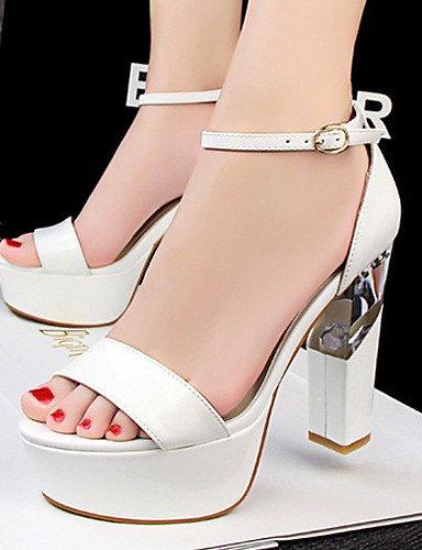 LFNLYX Chaussures Femme-Décontracté-Noir / Rouge / Blanc / Argent / Gris / Amande-Gros Talon-Talons / Bout Ouvert-Sandales-Similicuir almond