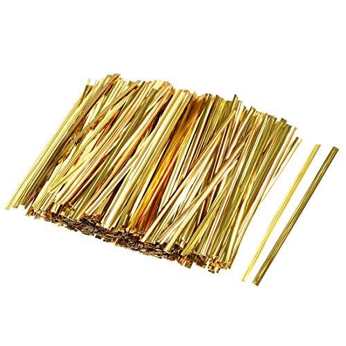 sourcing map 800Stk. 4 Zoll Metallic Twist Krawatten für Taschen Gold 4 Zoll -