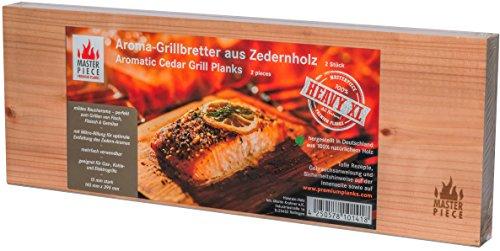 "Masterpiece "" heavy XL "" - Aroma Grillbretter aus Zedernholz, 15 mm stark, Grillplanke Premium Qualität, Set á 2 Stk, Maße: 145 x 395 mm, BBQ Räucherbretter inkl...."