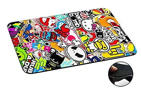 114 - Cool Funky Sticker Bomb Jdm Eat Sleep Design Macbook PC Laptop Anti-slip Tapis de Souris Mousepad Mouse Mat Tpu Leather-Slim 3MM
