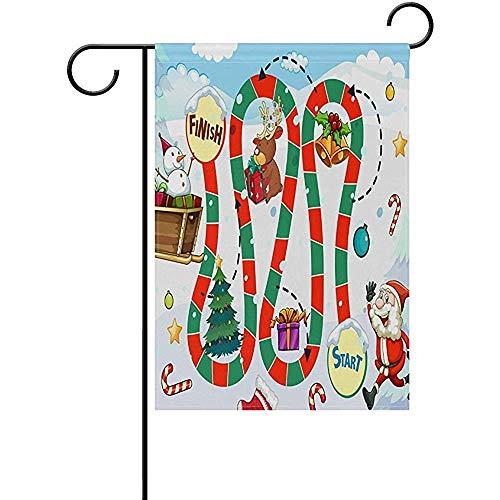 Annays Decor Flag Weihnachten Weihnachtsmann Schneemann Brettspiel Garten Hof Doppelseitige Außendekoration Hof Innen Perfekte Garten Flagge Dekorative 32X48 cm
