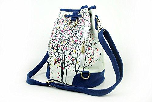 eba87ce8fde57 ... Lantra Besa Canvas Tasche Schultertasche Umhängetasche Rucksack für  Damen und Mädchen BY0001 - R13 Mehrfarbig Blumen