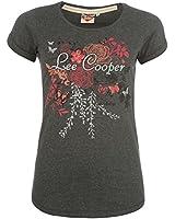 Lee Cooper Glitter Logo T Shirt Ladies (Charcoal Marl)