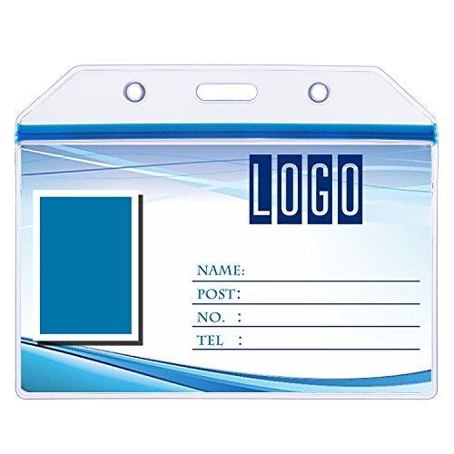 wisdompro 10Stück Klar Heavy Duty Vinyl Badge Holder mit Ziploc für mehrere Karten 1 Pack Horizontal Blue Zip Horizontale Vinyl Pouch