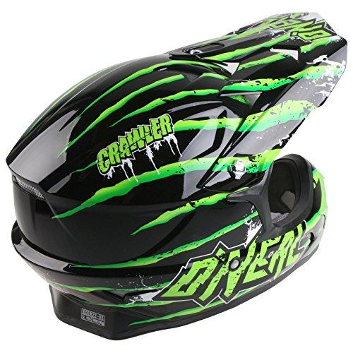 O'Neal 3Series Motocross Helm Crawler Schwarz Grün Motocross Enduro Cross Motorrad MX Quad Offroad, 0603D-50, Größe Medium (57 - 58 cm) -