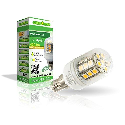 LumenStar® LED E14 Lampe 5 Watt - 400lm, 3000k warmweiß, 270° Abstrahlwinkel, ersetzt 40W - Cagliari