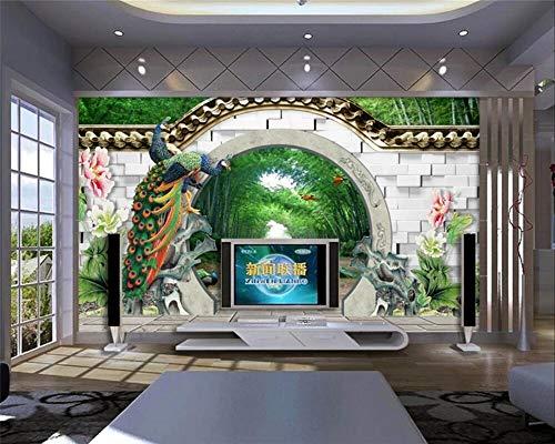 MuralXW Dream 3D Wallpaper Frühling Bambuswald Runde Tür Jiangnan Chunxiao TV Hintergrund Wandbild 3D Wallpaper-200x140cm