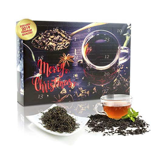 C&T Tee-Adventskalender 2019 mit 24 losen Schwarztees - edle Tee-Sorten à 20 g für je 4 Tassen (1 Kanne) in dekorativem Kalender - Schwarzer Tee