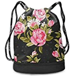 BAOQIN Funny Dance Gift Unisex Drawstring Fashion Beam Backpack Vintage Pink Flower Print Backpack Travel Gym Tote Cosmetic Bag