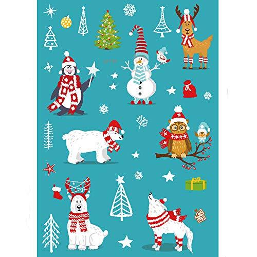 Hukz Weihnachtsleuchtende glühende temporäre Tätowierungs-Aufkleber-wasserdichte Mitbringsel,Leuchtende Weihnachts-Tattoo-Aufkleber, Spielzeug-Aufkleber für Kinder (H) -