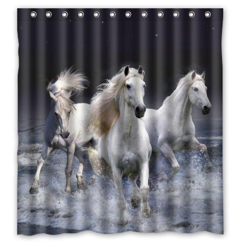 Jane Creative Home Ideas White Horses Running At Night Sea Beach Animal Art Fabric Shower Curtain