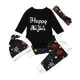 Kobay Neugeborenes Baby Mädchen Jungen Neujahr Outfits Kleidung Strampler + Pants + Hut Stirnband Set