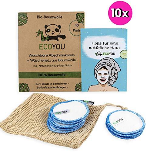 EcoYou Abschminkpads waschbar aus BIO-Baumwolle Inkl. Wäschenetz 10 Pads ♻ Wattepads wiederverwendbar zum Aufhängen + Hautpflege Guide ♻ Nachhaltige ZERO WASTE Gesichtspflege - Blau