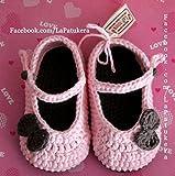 Patucos Merceditas para bebé de crochet, de color Rosa bebé y marrón, 100% algodón, tallas de 0 hasta 12 meses, hechos a mano en España.