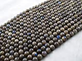 Beads Ok, DIY, Labradorite, Grey with Blue Flash, A-Grade, Véritable, Naturel, 10mm, Ronde x 38cm Un Fil. (Labradorite, Grey with Blue Flash, A-Grade, Plain Round Bead)