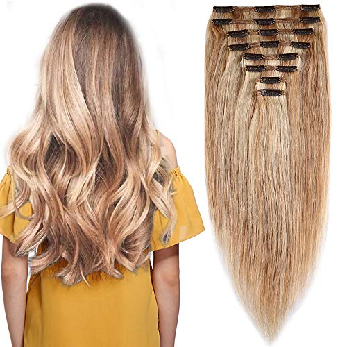 Extension capelli veri clip volumizzante balayage - 45cm 140g - 8 fasce folte double weft full head 100% remy human hair lisci, 18#/613# beige sabbia biondo/bleach biondo