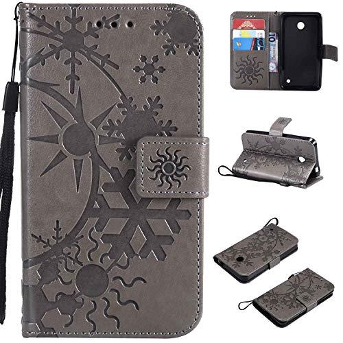 Ycloud Einzigartig PU Leder Tasche für Nokia Lumia 635 Wallet Flipcase mit Standfunktion Kartenfächer Entwurf Sternenhimmel Prägung Grau Hülle