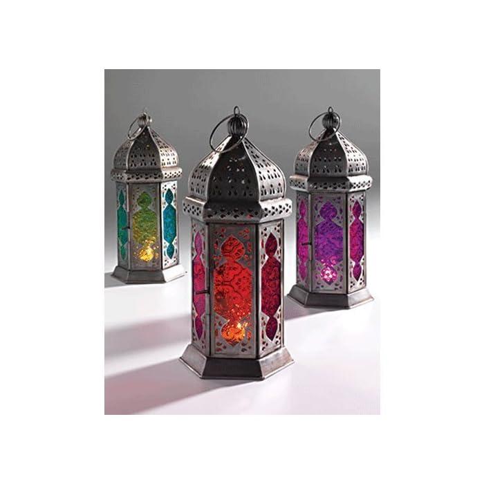 Marokkanischen Stil Glass Lamp Lantern, farbigem Glas und Eisen, fair gehandelt, rosa und lila