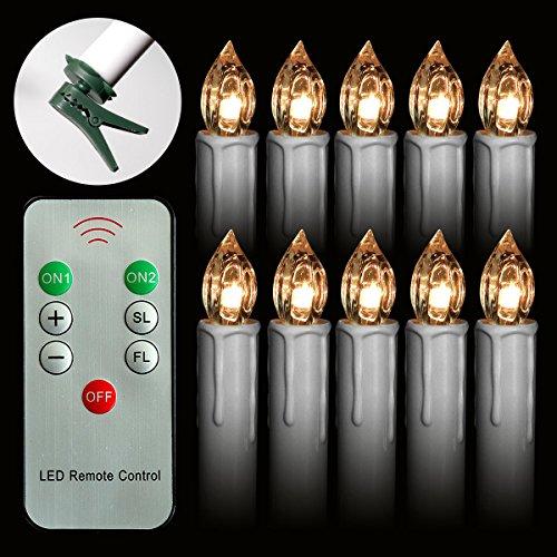 ss Führte Taper Kerzen AA Batteriebetriebene mit Fernbedienung und Abnehmbaren Clips Flimmern für Halloween Weihnachtsdekoration Hängen ()