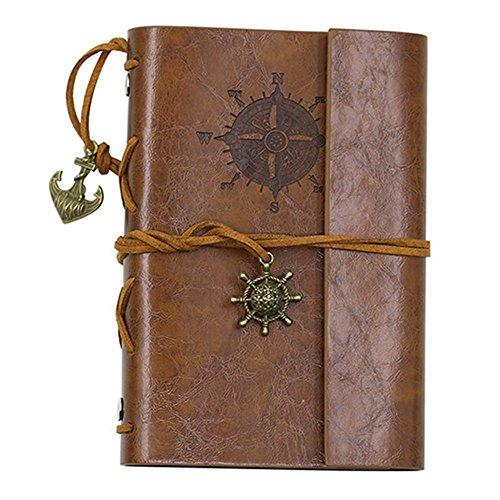 IBuyi Retro Anker Faux Leder Cover Journal Vintage Handmade Nachfüllbare Reisetasche Notizblock Notizblock Blank String, Großes Geschenk für Männer Frauen Studenten (Braun)