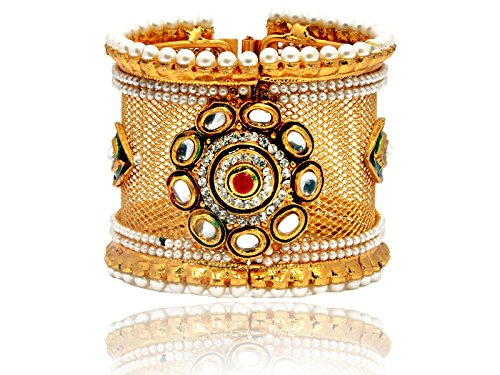 Mansiyaorange Traditional Fancy Designer Casual Party Wedding Wear Original One Gram Gold Hand Meena Work AD Polki Kundan Golden Openable Bangles Bracelet For Women(OPENABLE 2.6 INCH 4 CM WIDE)  available at amazon for Rs.299