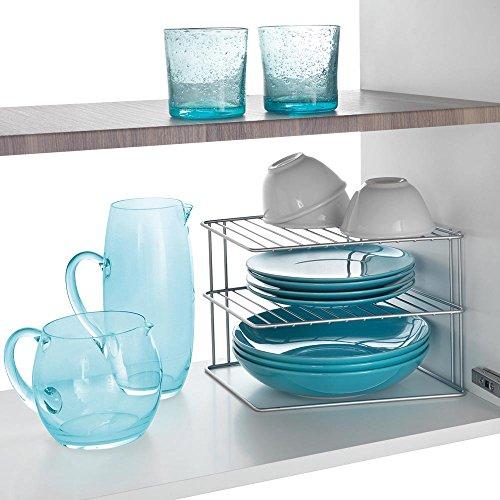 comprare on line Metaltex 364002095 Palio - Ripiano angolare a 2 piani per armadietto da cucina, 25 x 25 x 19 cm, colore: Argento prezzo