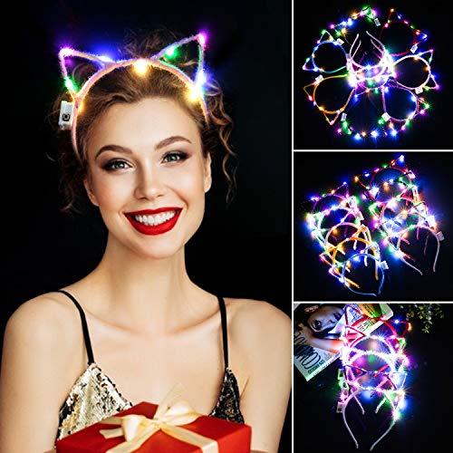1 Hat Katze Was Kostüm 2 - ZOYLINK 10-PCS LED Haarreif Katzenohren Party Haarreifen Mit Ohren Katze Ohren Stirnbänder Katzenohren Haarschmuck Haarbänder Cosplay Halloween Kostüm Party Frauen Haarreifen Damen Haarschmuck Party