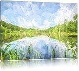 See im Wald Pinsel Effekt, Format: 100x70 auf Leinwand, XXL riesige Bilder fertig gerahmt mit Keilrahmen, Kunstdruck auf Wandbild mit Rahmen, günstiger als Gemälde oder Ölbild, kein Poster oder Plakat