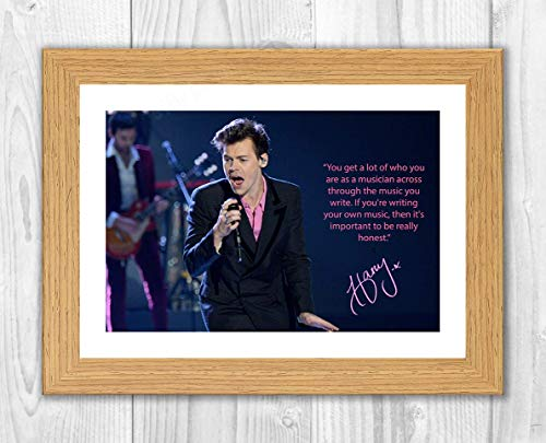 Gravia Digital Harry Styles (4) One Direction Signatur-Poster A4 Druck Oak Frame