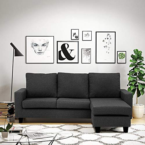 CasaStyle - Lauren Four Seater Interchangable L Shape Sofa (Dark Grey)