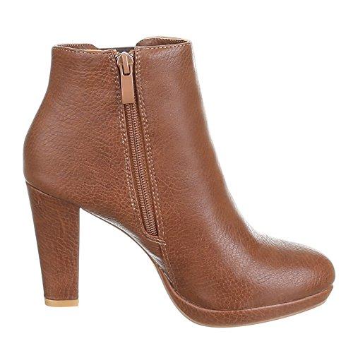 Damen Schuhe, 2111-GA, STIEFELETTEN Braun