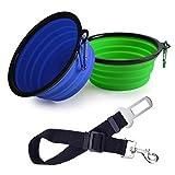 Linxii cane cintura di sicurezza + 2set pieghevole da viaggio in silicone ciotola del cane portatile Pet food acqua ciotole