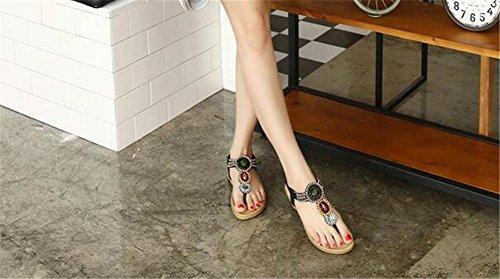 YEEY Estate donna rotonda peep clip toe Flat tacco strass t-strap sandali spiaggia post sandali infradito scarpe infradito Black