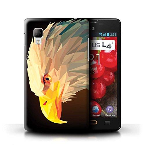 Stuff4® Hülle/Case für LG Optimus L4 II/E440/Weißkopfseeadler Muster/Geometrisches Tier Tierwelt Kollektion (2 Weißkopfseeadler)