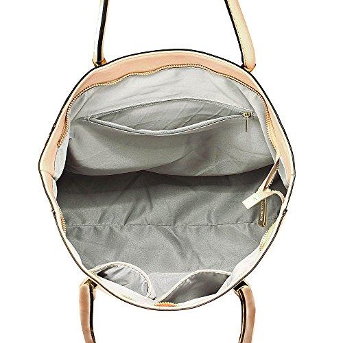 Damen Greifen Tasche Damen Designer Faux Leder Handtasche Mit Gold Metall Arbeit Und Fein Stitching Oben Reißverschluss Schließung Mit Polka Punkte Stoff innen Nackt