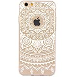 iPhone 6S Case,3H iPhone 6/6S Case HD Pattern Elastic Translucent Silicone Shock-Absorption Soft Gel TPU Bumper Back Cover Skin Protective Case for iPhone 6/6S 4.7 Inch(White Tribal Henna)