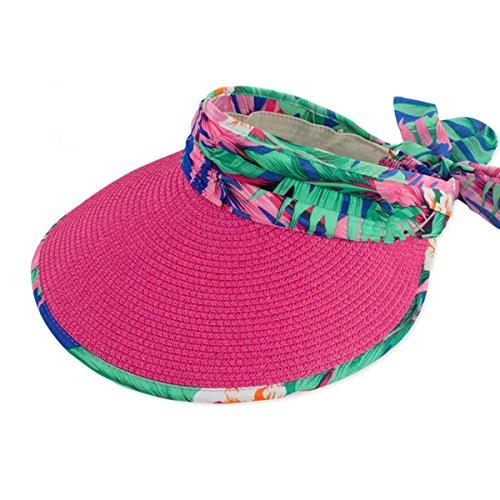 Large plage Thenice pour Pare-soleil repliable Chapeau de Paille Rouge - Rose rouge